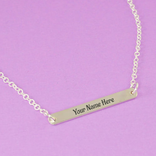 Write Name on Sterling Silver Initial Bar Necklace