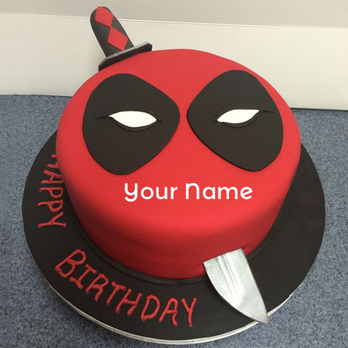 Deadpool Mask Theme Birthday Wishes Cake With Your Name