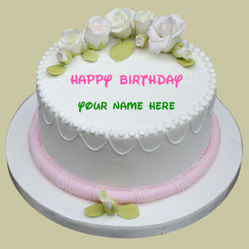 Happy Birthday Sugar Rose Cake With Your Name