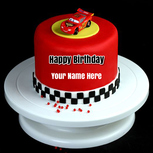 Disney Cars Birthday Wishes Cake For Kids With Name