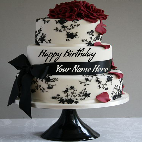 Cake Images With Name Mohan : Write Name On Birthday Cake Pic Wrapped By Ribbon