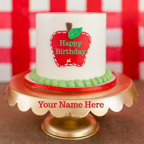 Write Your Name On Apple Birthday Cake Greetings Online