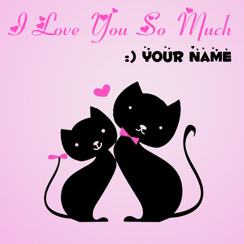 I Love You So Much Couple Cat Greeting With Name