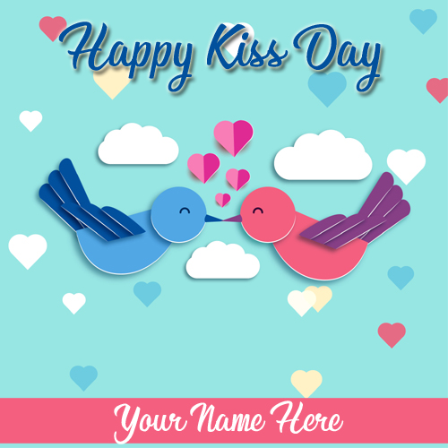 Write Name on Happy Kiss Day 2019 Cute Love Greeting