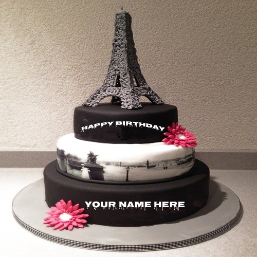 Write Your Name On Cute Eiffel Tower Birthday Cake Pic