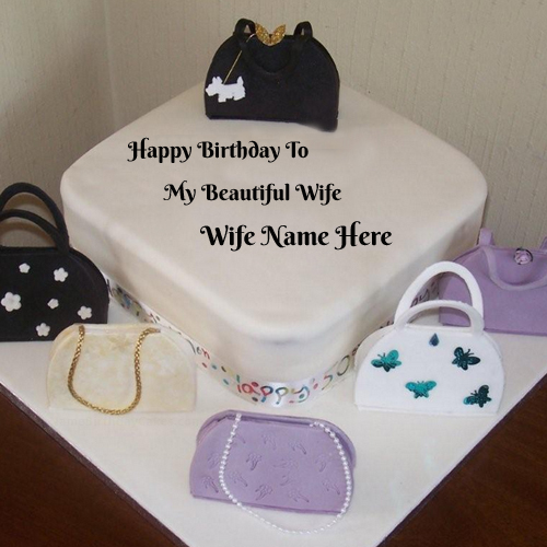 Birthday Cake Ideas For Husband And Wife : Write Name On Bags Birthday Cake For Wife Online