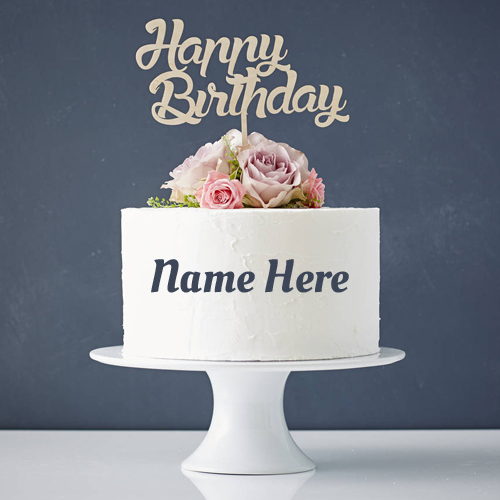 Double Layer Name Birthday Cake With Flower Toppings