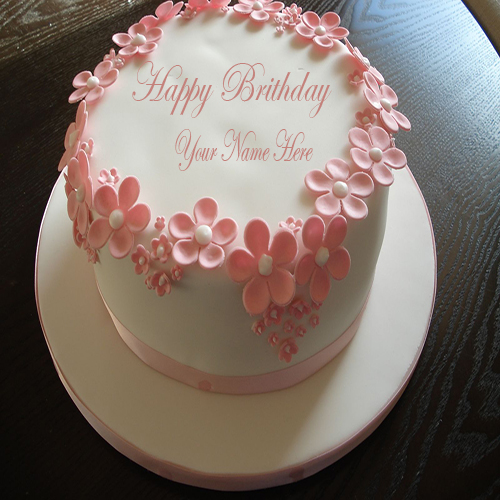 Write Name On Happy Birthday Flower Cake Online