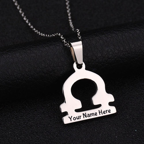 Stainless Steel Zodiac Sign Libra Pendant Pic With Name