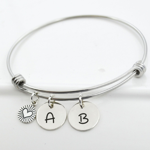 Write Couple Initial Alphabet on Bangle Charm Bracelet