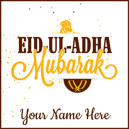 Happy Eid al-Adha Wishes Greeting Card With Your Name