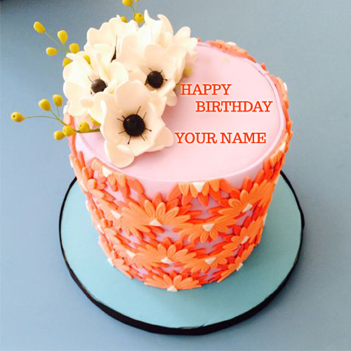Write Name On Beautiful Orange Flower Strawberry Cake