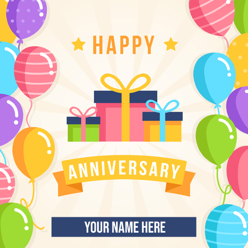 Write Name on Happy Anniversary Designer Whatsapp DP