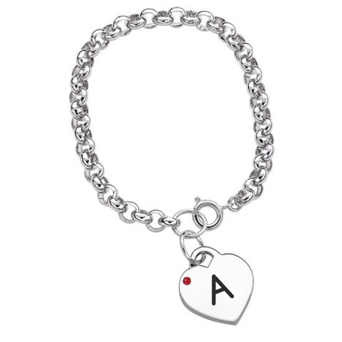 Write Name Alphabet on Birthstone Heart Charm Bracelet