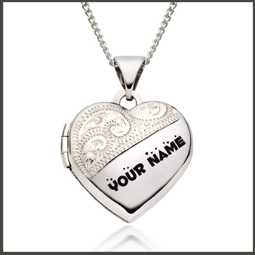 White Gold Heart Locket Pendant Profile Pics With Name