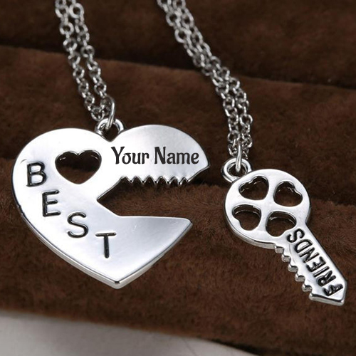 Write Name on Friendship Vintage Puzzle Pendant