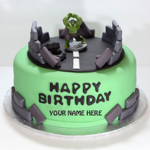 The Incredible Hulk Birthday Cake With Your Name