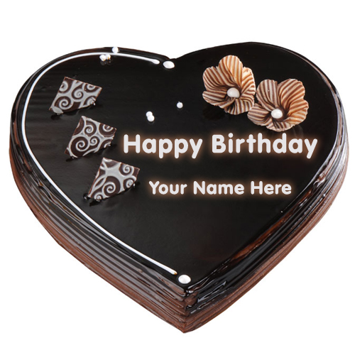 Print Your Name on Chocolate Heart Cake Online Free