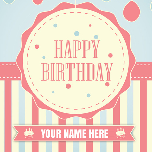 Beautiful Pink Birthday Wishes Card With Your Name