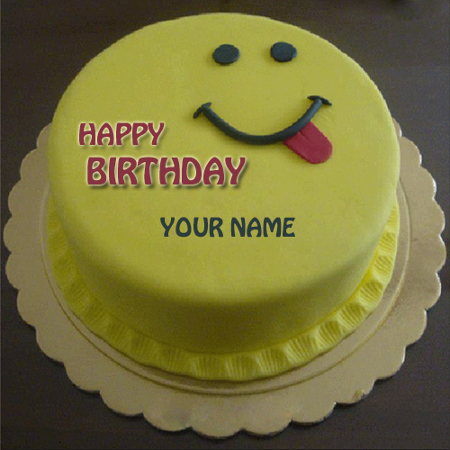 Birthday Cake Images With Name For Brother : Write Name on Cute Smiling Birthday Cake For Brother