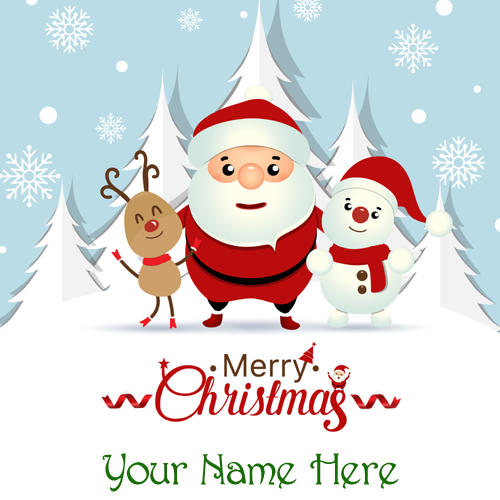 Christmas Name Greeting With Santa Snowman and Reindeer
