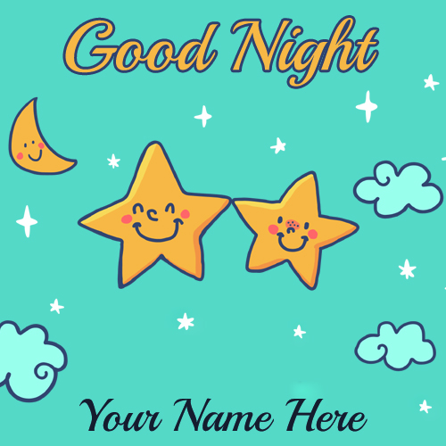 Write Name on Hand Drawn Stars Good Night Lovely Card