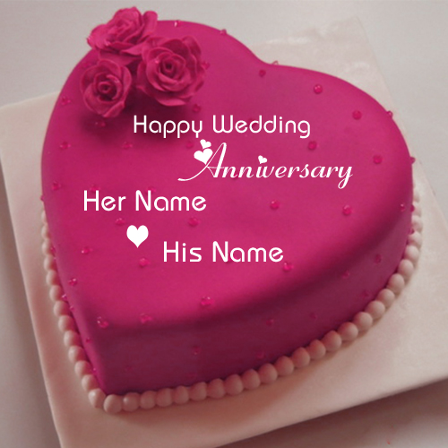 Write Name On Anniversary Cake Images : Write Name on Happy Anniversary Cake Greeting