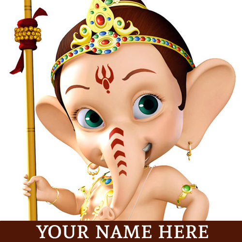 Write Name on Happy Ganesh Chaturthi 2015 Festival Gree