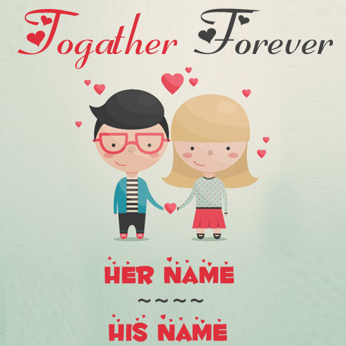 Write Name on Cute Couple in Love Greeting Card