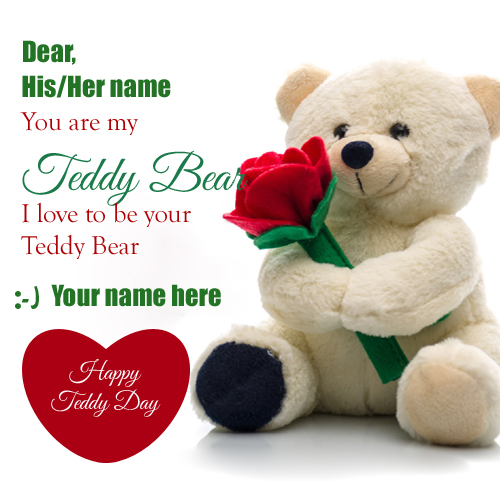 Happy Teddy Day Valentine Greeting With Name