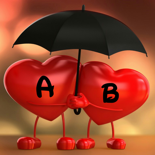 Love Couple Red Heart Romantic Greeting With Alphabet