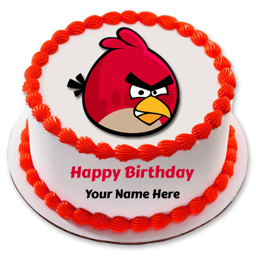 Write Name on Cute Angry Bird Kids Birthday Cake