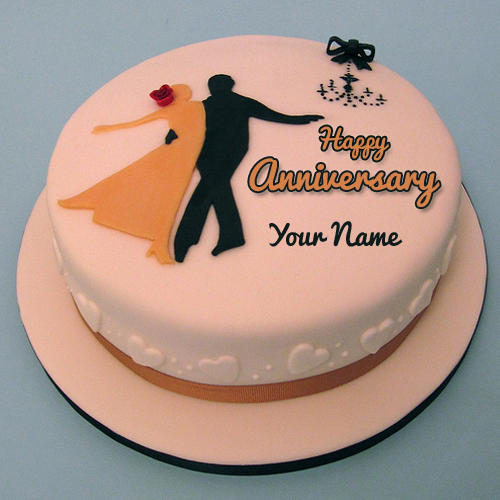 Happy Anniversary Name Cake For Romantic Love Couple