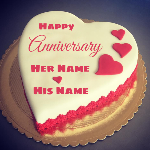 Cute Anniversary Wish Heart Cake With Love Couple Name