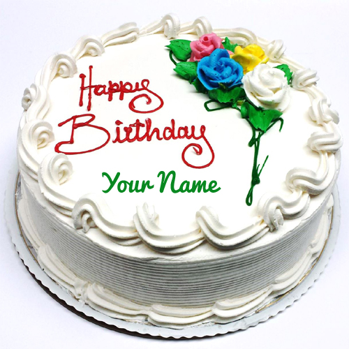 Pretty Vanilla Round Shape Birthday Cake With Your Name