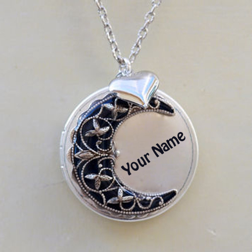 Write Custom Name on Silver Neck Locket For Girls
