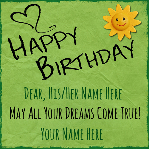 Handmade Birthday Wishes Greeting With Your Name