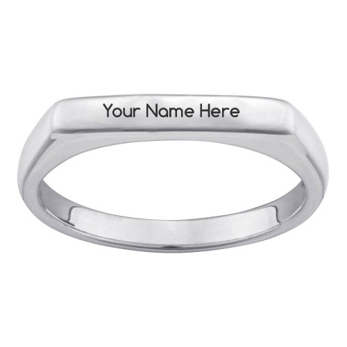 Write Name on Sterling Engraved Rectangular Ring
