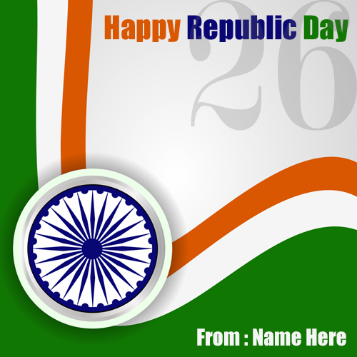 Republic Day I Love India Greeting With Your Name