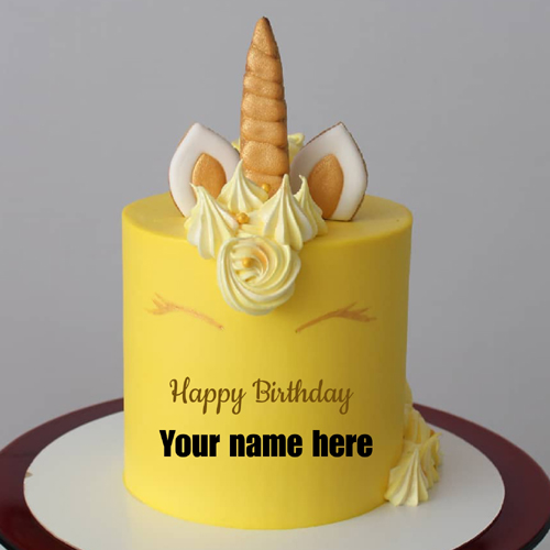 Write Name on Cute Unicorn Cake Pic For Birthday Wishes
