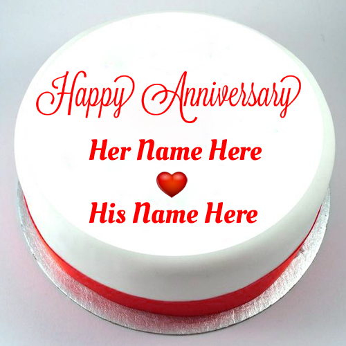 Plain White Cake For Happy Anniversary Wishes With Name