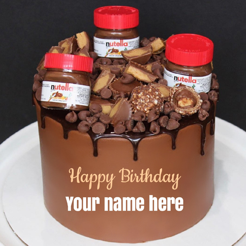 Write Name on Nutella Chocolate Birthday Cake Greeting