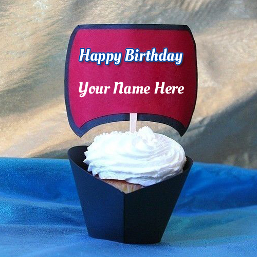 Happy Birthday Delicious Cream Cup Cake With Your Name