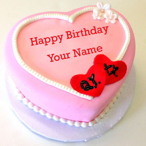 Birthday Cake Photos For Girlfriend : Write Name on Pink Heart Birthday Cake For Girlfriend