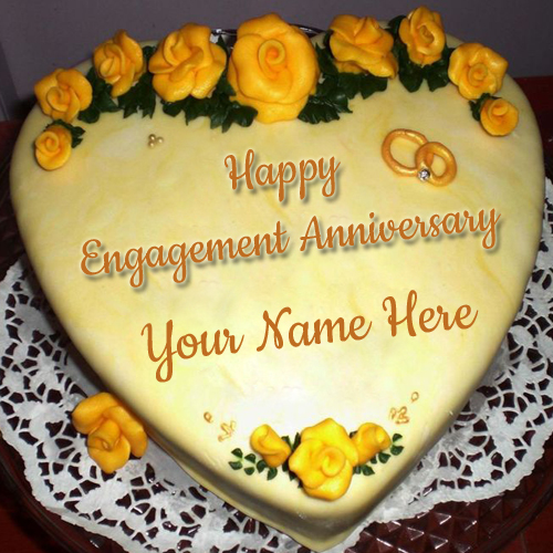 Yellow and Gold Heart Shape Engagement Cake With Name
