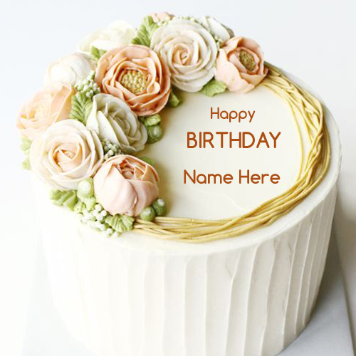 Write Name on Piped Buttercream Flower Birthday Cake