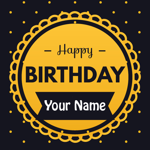 Elegant Abstract Birthday Wishes Card With Your Name