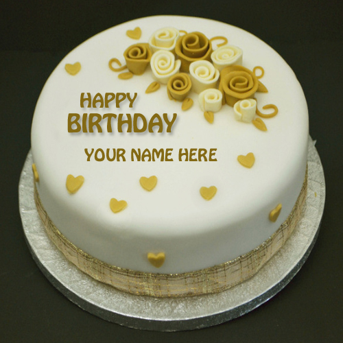 Write Name on Happiest Birthday Flower Cake