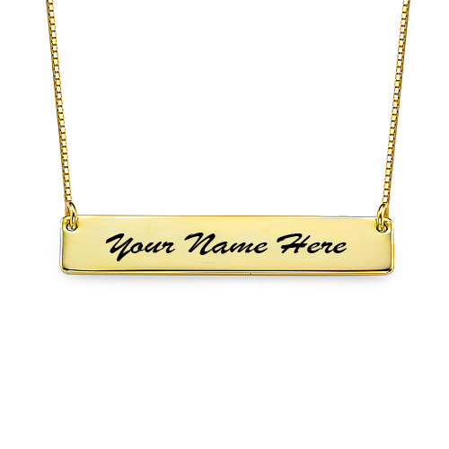 Write Your Name On Gold Plated Bar Necklace Online