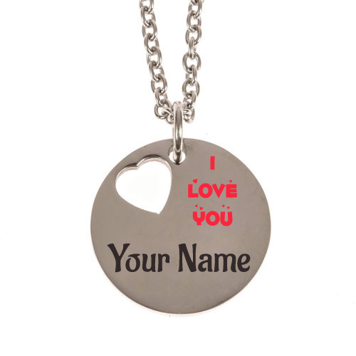 Write Name on Stainless Steel Charm Necklace For Lover